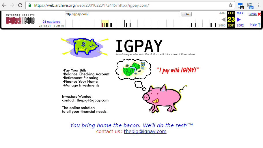 February 23, 2001 Internet Archive Capture of Igpay.com